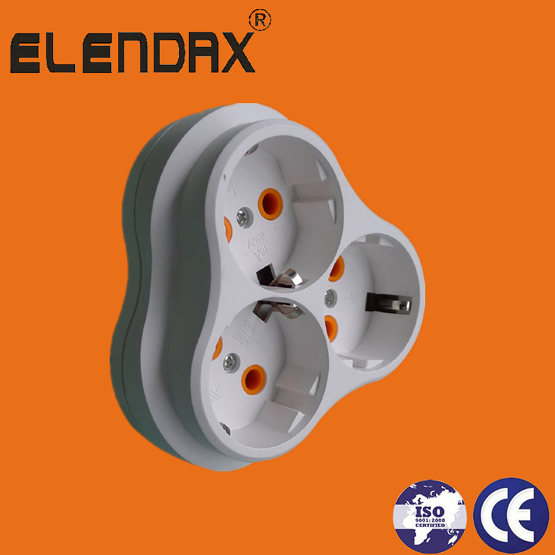 EU 2 pin plug to 3 Way Socket with ground Adaptor(P8035)