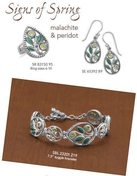 Malachite & Peridot Gemstone Jewelry ,Sterling Silver Jewelry ,Ring ,Earrings ,Bangle