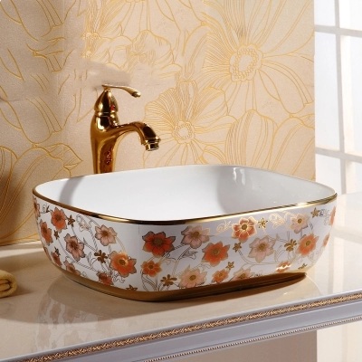 Gold pink plated art basins Ceramic Countertop Sinks basin
