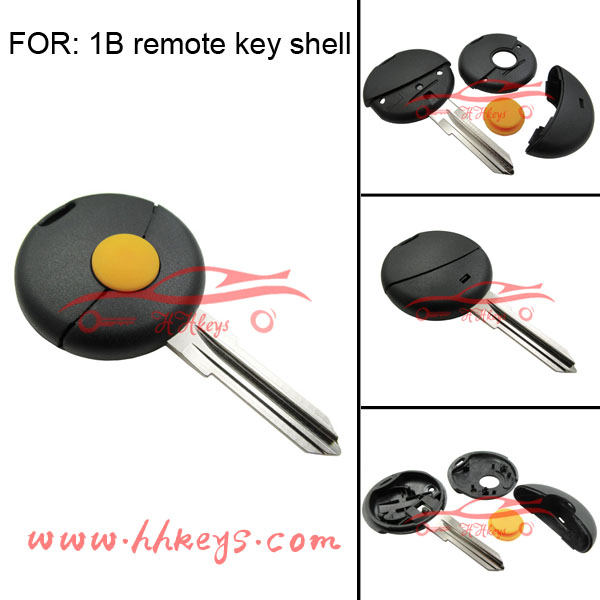 Benz 1 button smart remote key shell with yellow pad