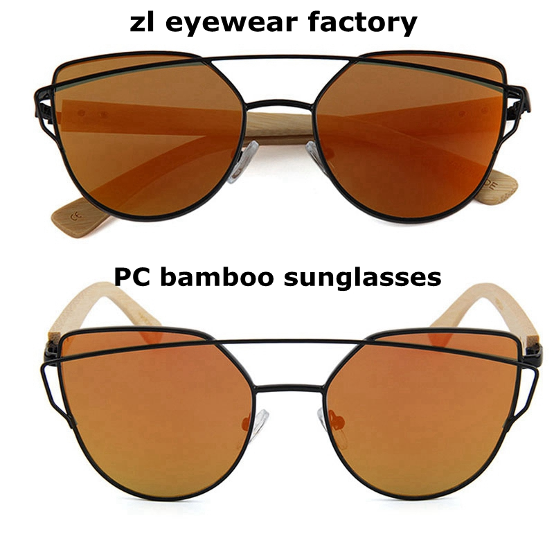 Fashion brand flat lens women bamboo sunglasses with PC frame