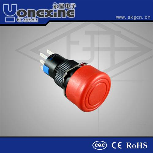 16MM plastic emergency waterproof momentary stop push button switches