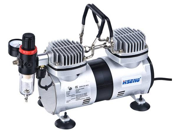 Haosheng Twin cylinder airbrush compressor with cover AS19-2