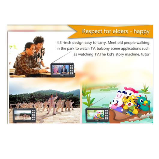 4.3inch ISDB-T Full Seg Mobile Mini Portable TV, Support All Band FM, External Antenna, SD card