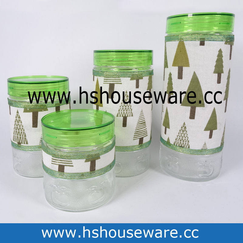 4pcs glass canister set