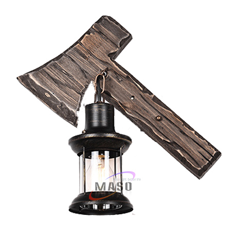 Wall lamp vintage natural wooden axe sleep night light design for home