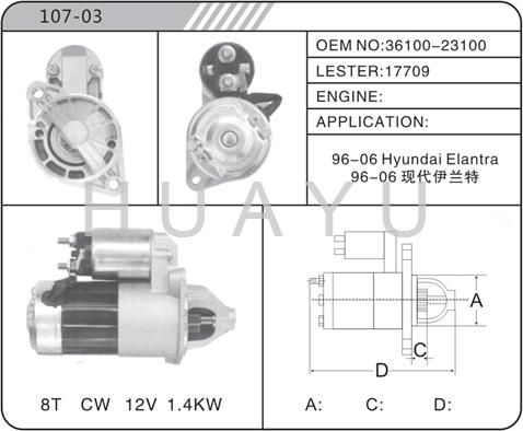 HYUNDAI ELANTRA STARTER MOTOR 3610-21510 16939
