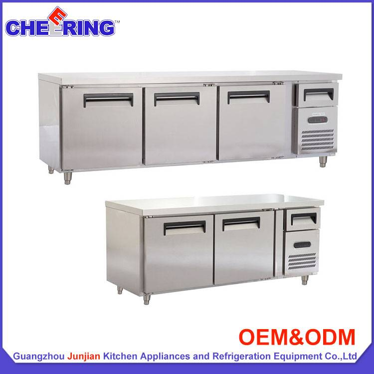 Commercial stainless steel counter refrigerator for kitchen