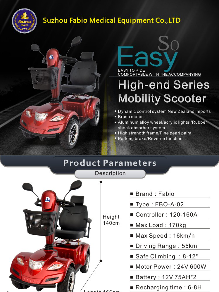 Fabio Travel Heavy Duty Scooter, Luxury and Eco-Friend,Supports up to 440lb,4 Wheel