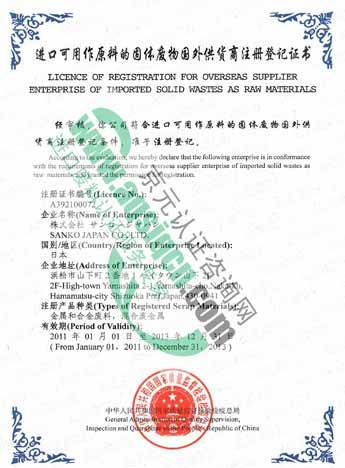 Change Name of AQSIQ certificate