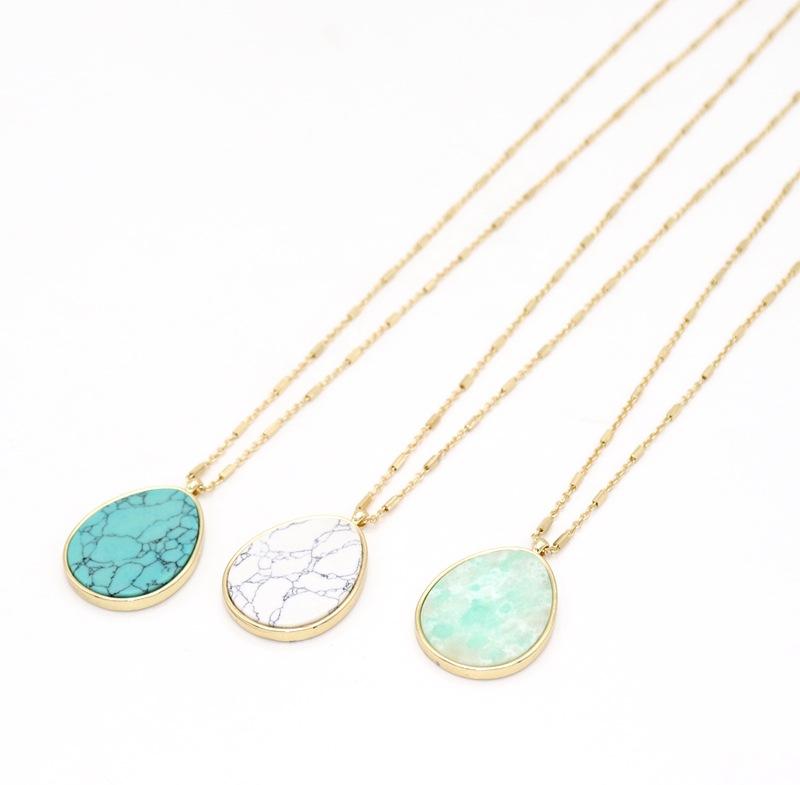 Bohemian Handmade Turquoise Pendant Necklace Women Teardrop Shape Natural Stone Charm Necklace