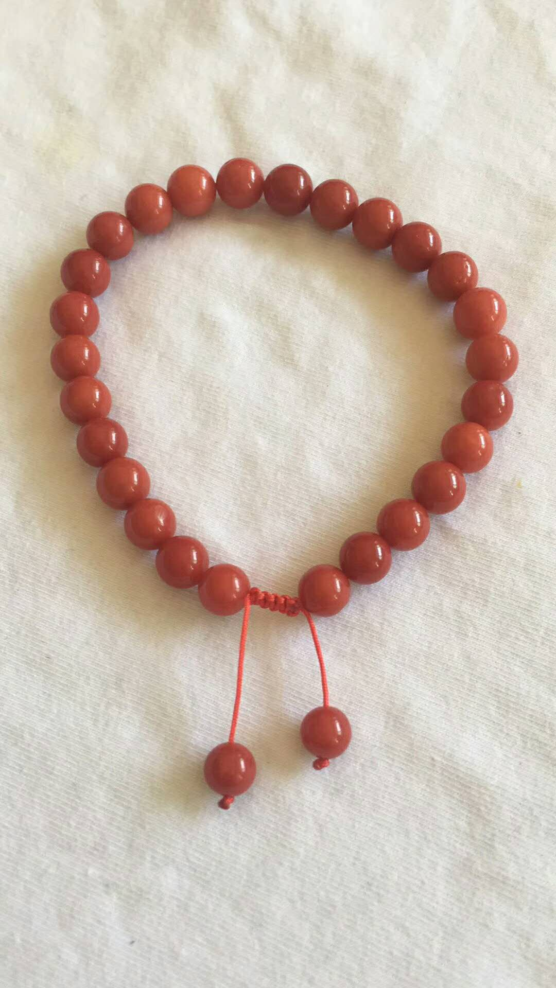 Natural Coral Bracelet, Round Beads
