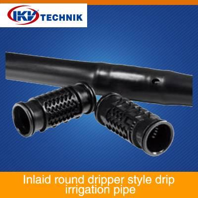 Inlaid round dripper style drip irrigation pipe