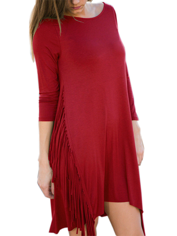 Autumn Women Casual Solid O-Neck Long Sleeve Short Dress With Tassels Side WT33061