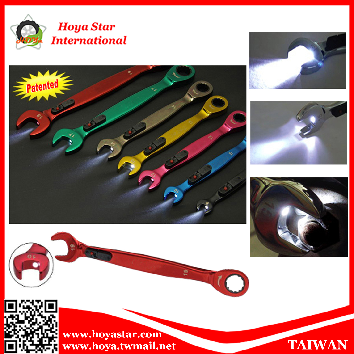 LED Light Ratchet Gear Wrench combination spanner