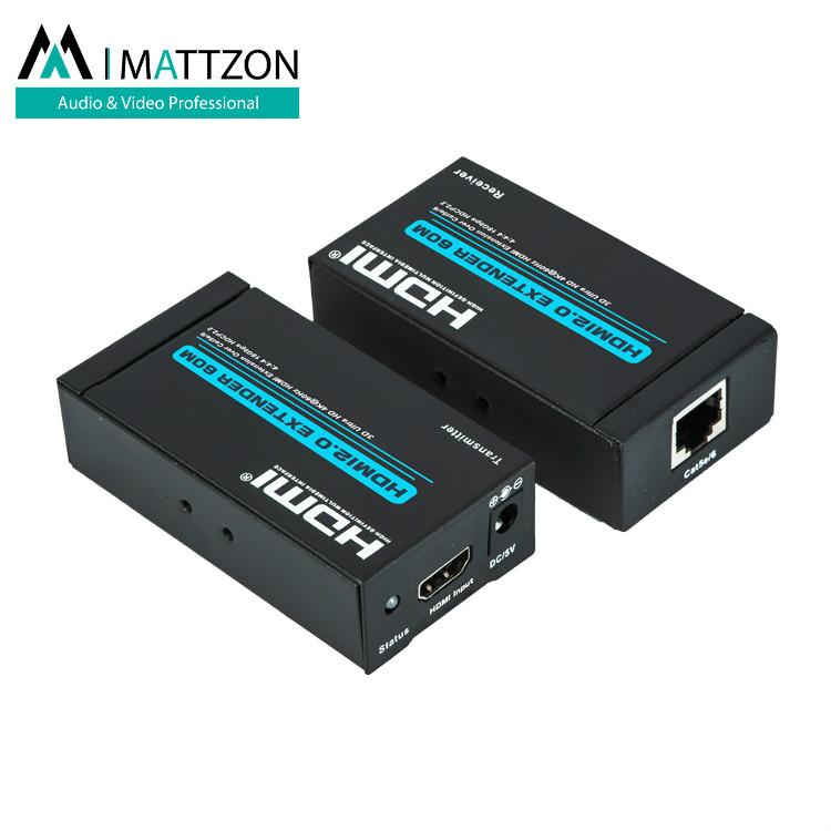 Mattzon V2.0, 4k@60hz no latency hdmi extender 60m, over single lan, Cat5e/6, imported chipset