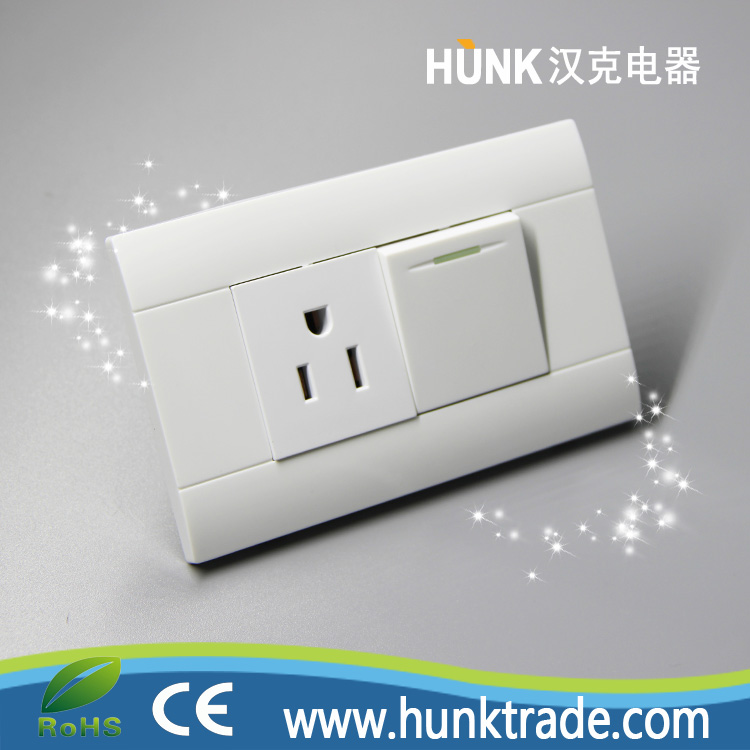 1 gang light switch and American type INTERRUPTOR + TOMACORRIENTE wall light switch socket