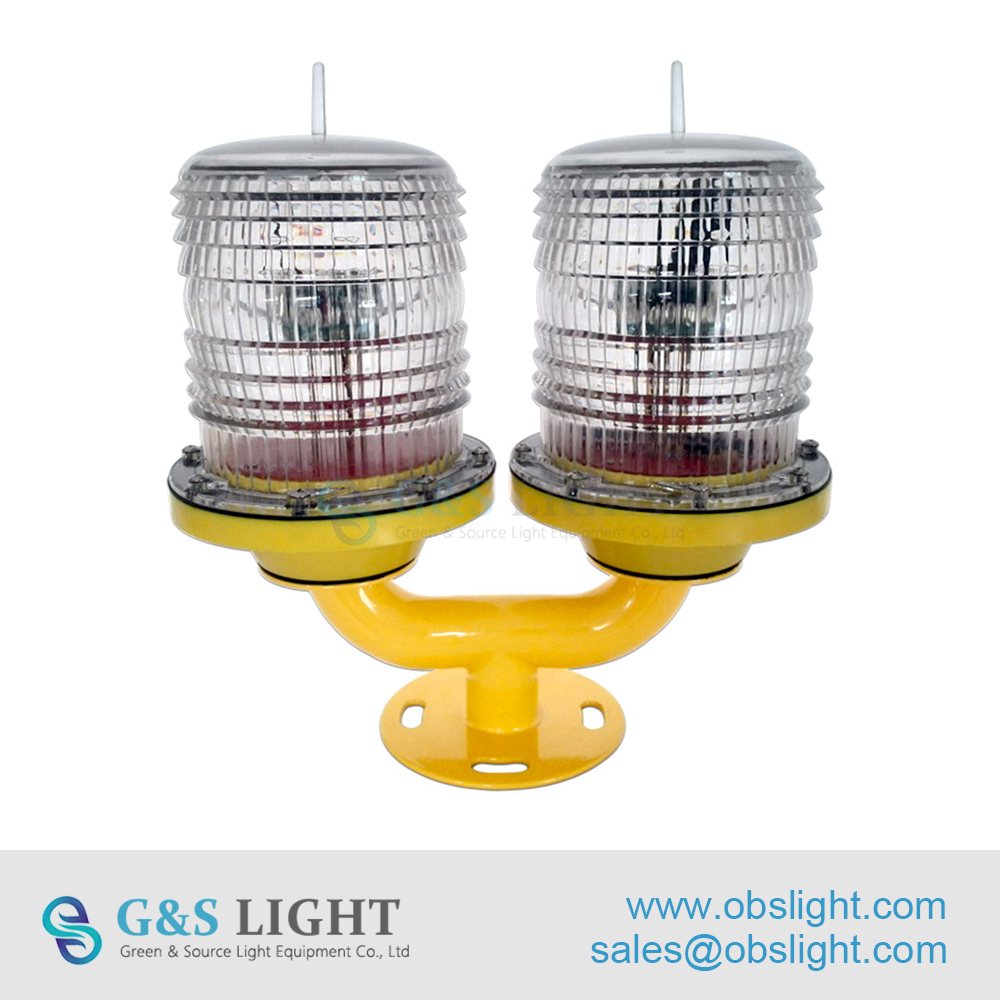 Low intensity Double Solar Powered Aviation Obstruction Light