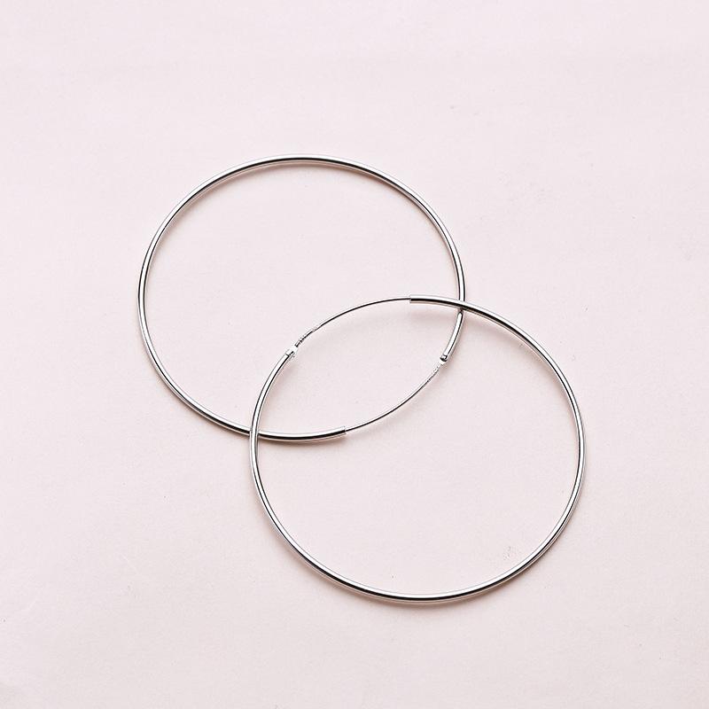 Simple Circle 925 Sterling Silver Hoop Earrings