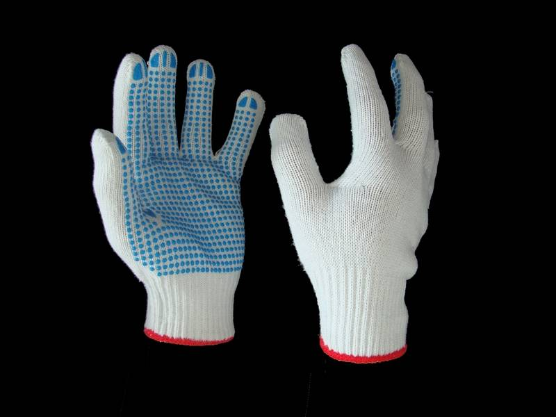 10G bleached poly cotton safety pvc dotted glove