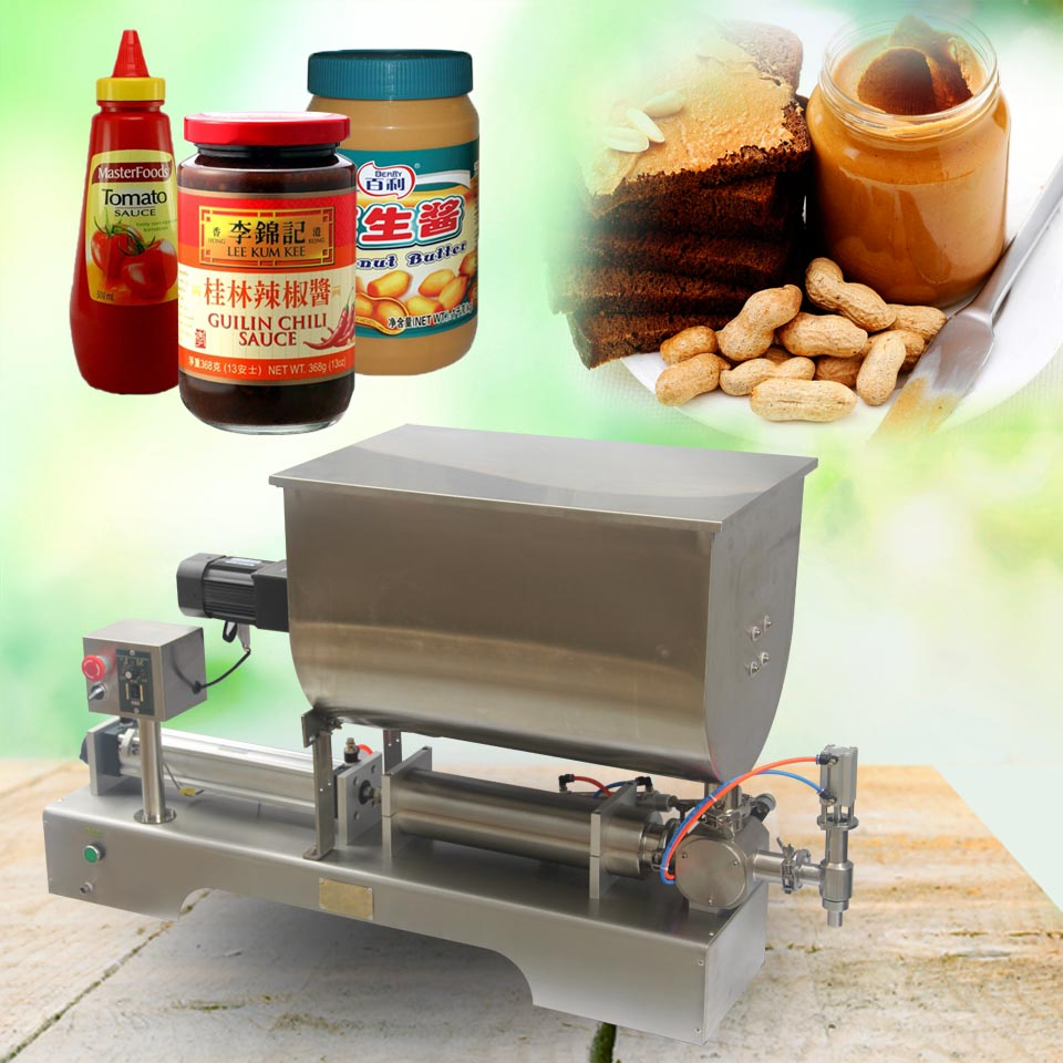 90-500ml,liquid paste filling mixing machine,piston filler machine,big hopper