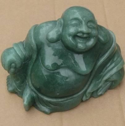 large laughing natural green aventurine buddhas