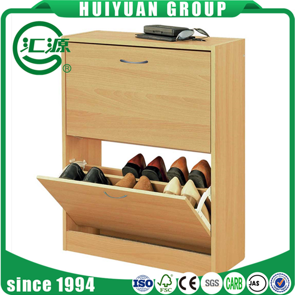 2017 hot sale modern design wood drop front shoe rack