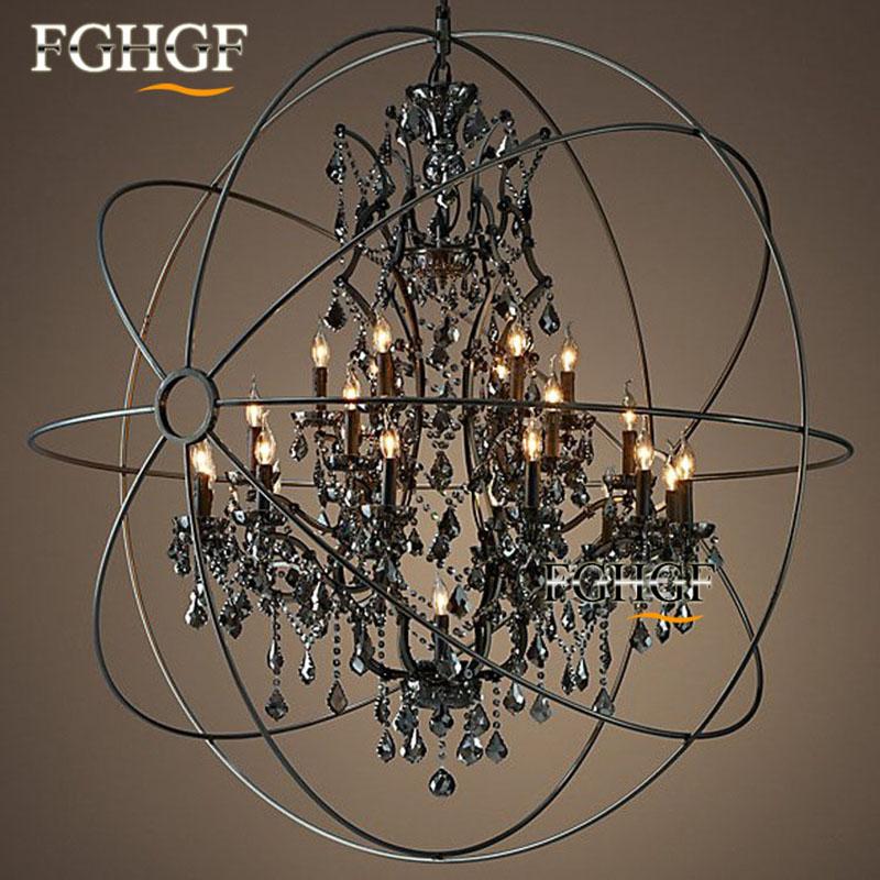 Retro Crystal Chandelier Light Lustre Lamparas Lamp for Bedroom Living Room luminaria Indoor Light