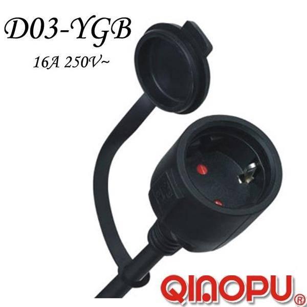European Standard IP44 Waterproof Power Plug (D03-YGB)