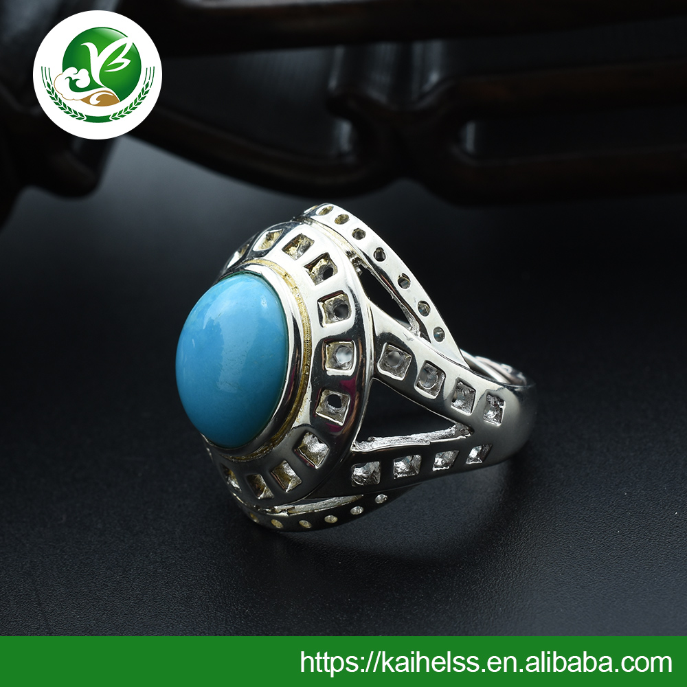 Women's Gender and Gemstone Rings Rings Type Blue turquoise Silver Ring