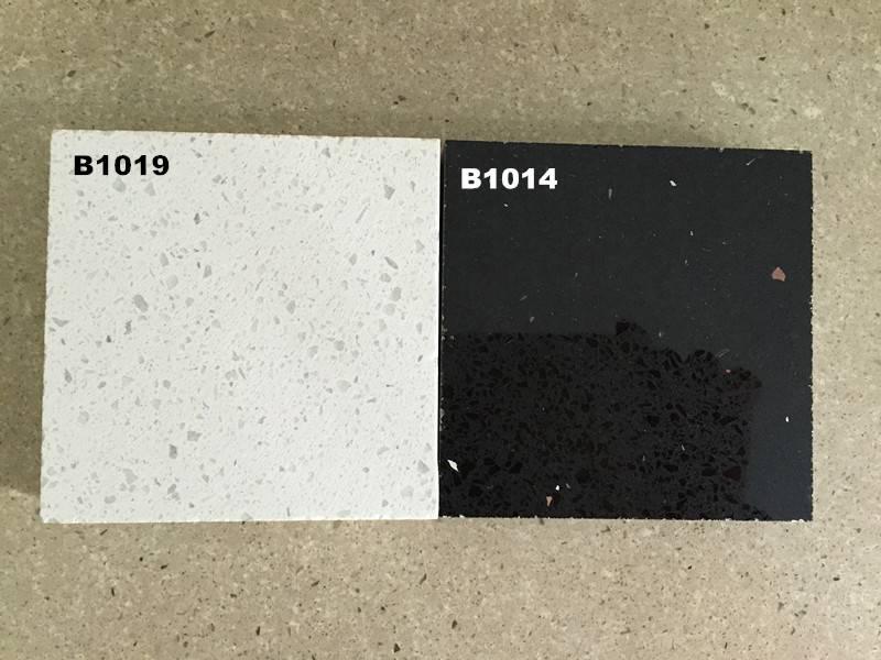 Black and White Mirror Quartz Stone for Kitchen Countertop
