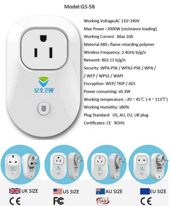 Smart Home - Wifi Smart Plug 2200W UK Style wifi Socket