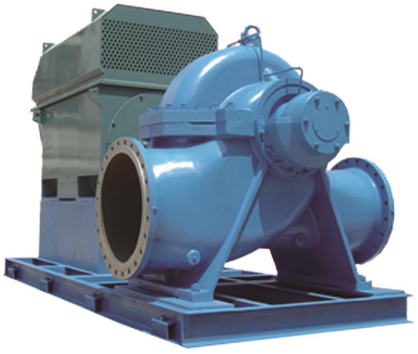 Single stage double suction diesel engine water pump as marine ballast and cooling water pumps