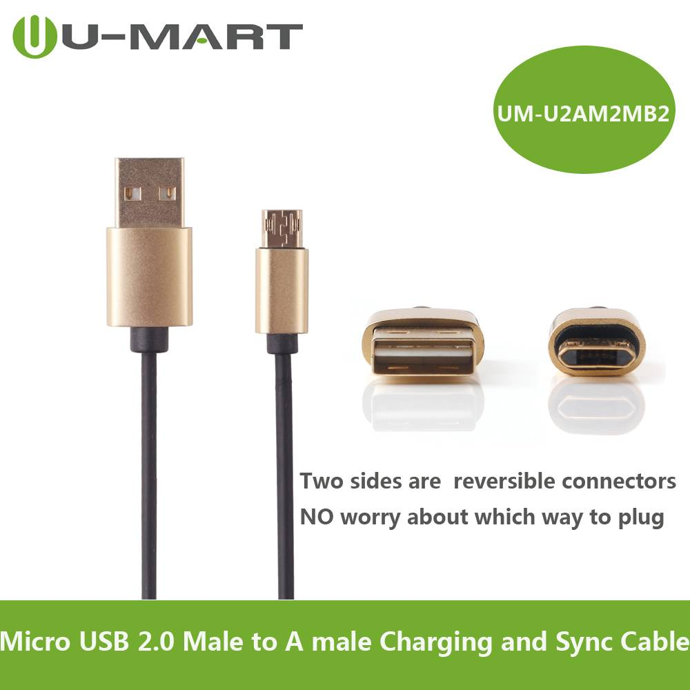 Micro USB 2.0 Male to A male Charging and Sync Cable--reversible connectors