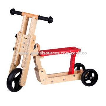 Wooden 2-in-1 scooter, red