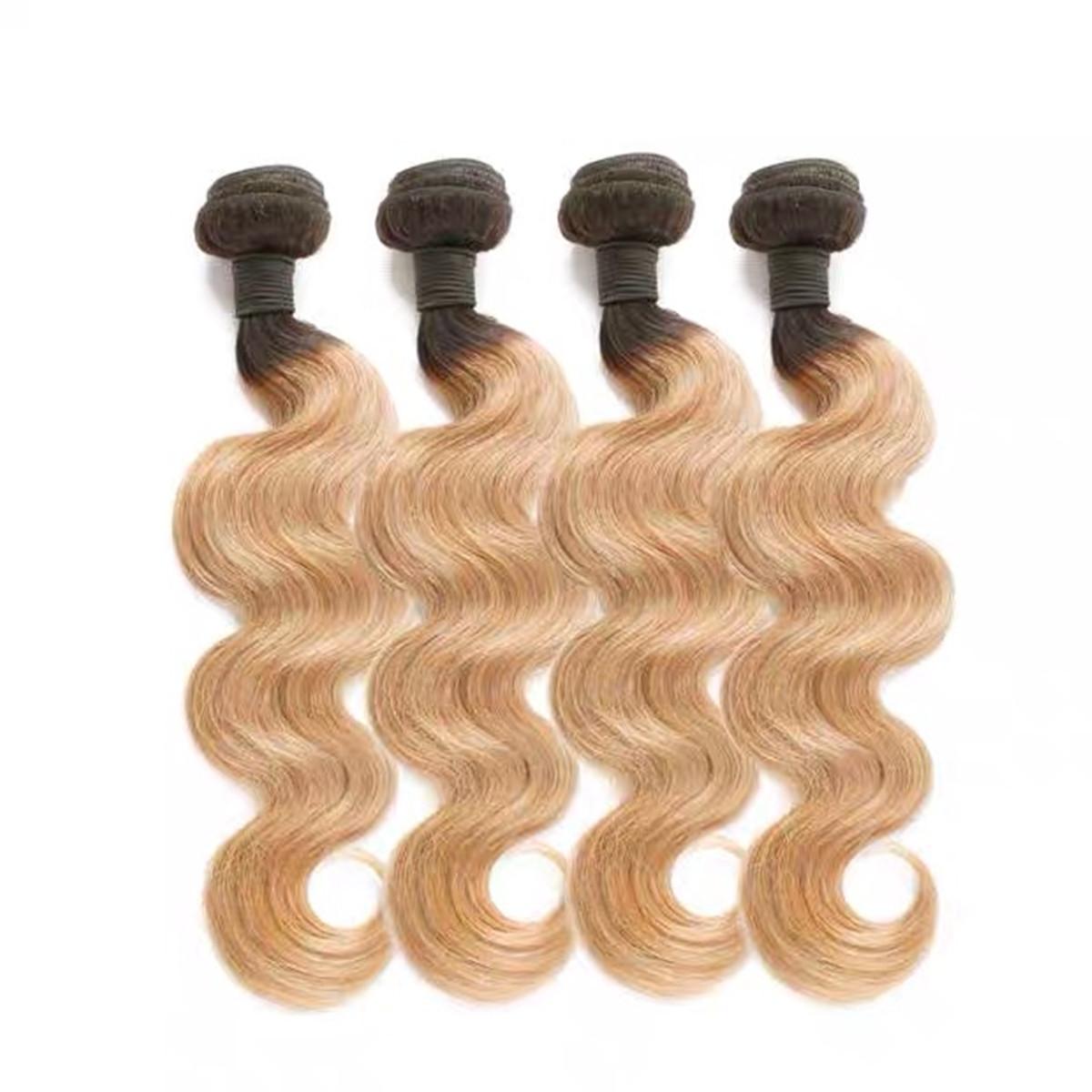 LEDON Hair Weft, Bodywave BW, color 1b/27,100% Human Hair Extensions,100g, 1 Piece