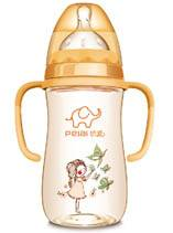 300ml PPSU wide-neck gourd feeding bottle with dual color handle