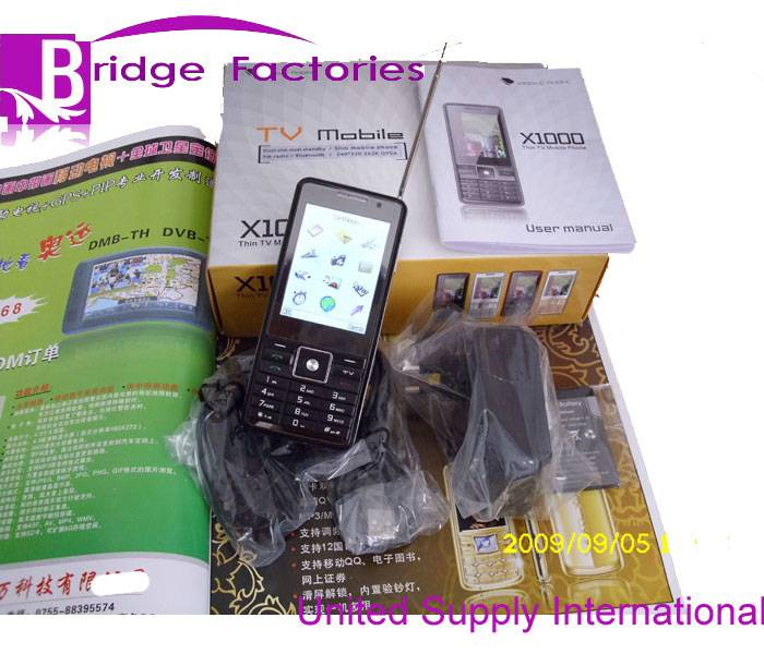 X1000 newest Thin TV mobile with TP & support  two T-Flash cards & two camera   Mp3/Mp4.shaker&#6529