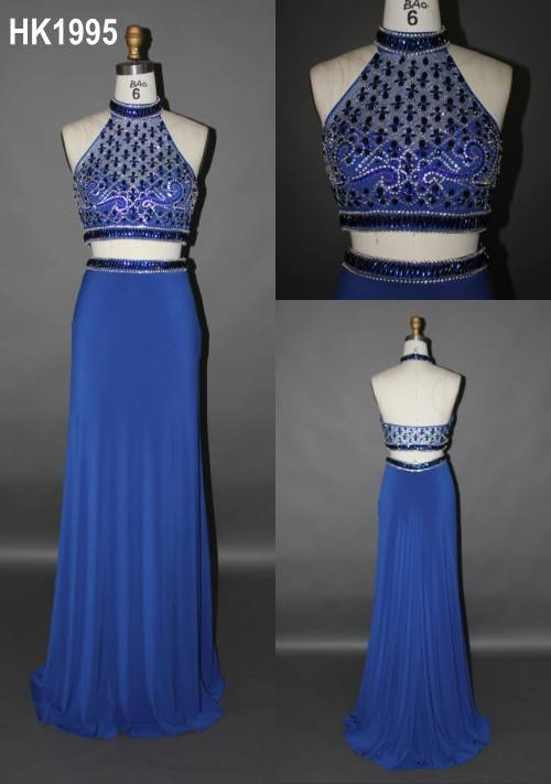 new arrival fashion popular beading blue two piece prom dress