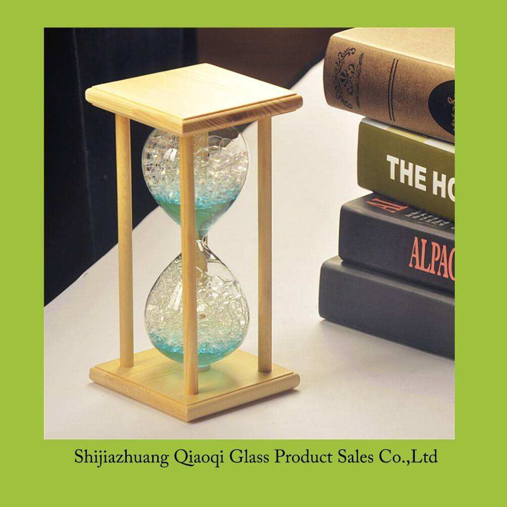 factory direct glass bubble hourglass with wood frame