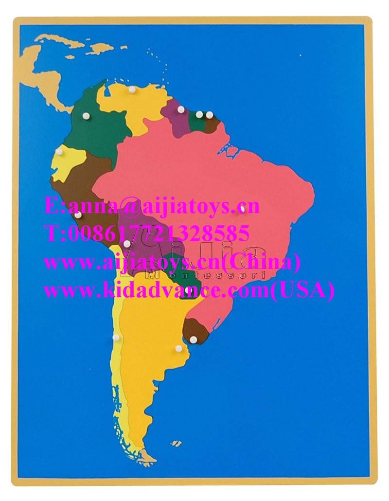montessori Puzzle Map of South America,montessori material toys