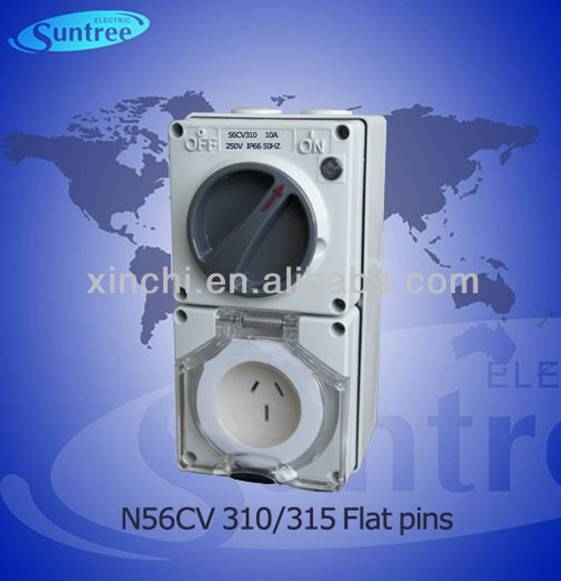 Australian industrial plug and socket N56CV315/310 IP66 combo switch and socket SAA 10A and 15A with