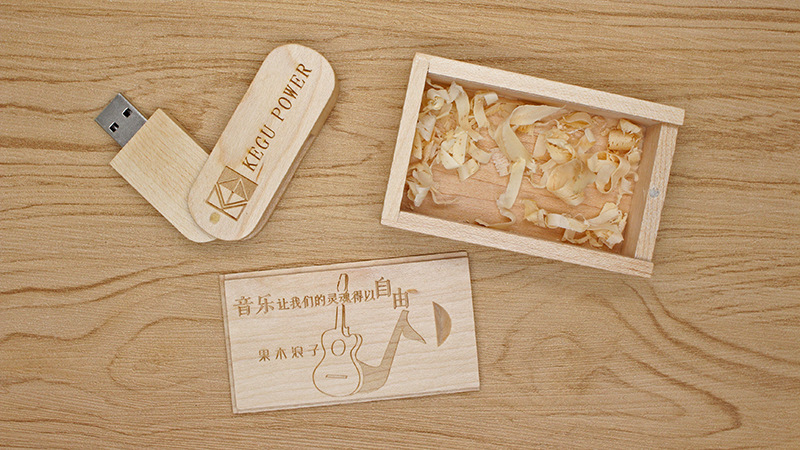Carausb Custom wooden rotating usb disk personalized business gifts