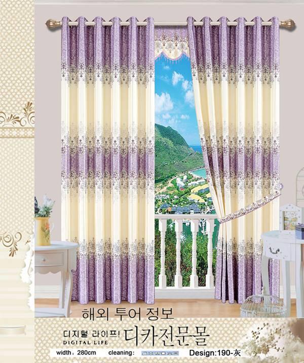 white yarn printed blackout curtain