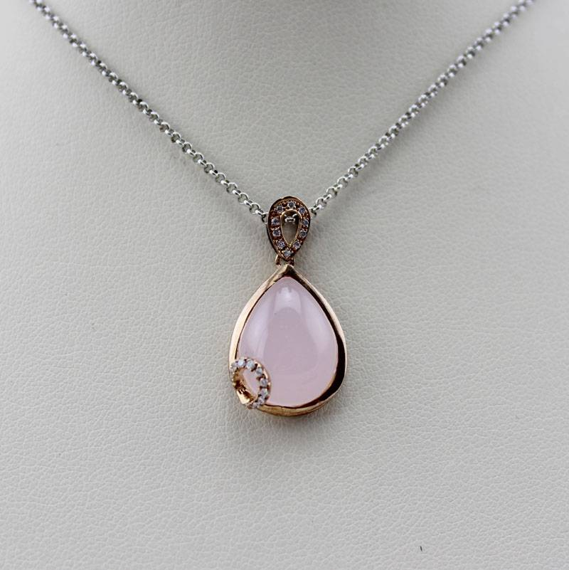 14k Rose Gold With Rose Quartz Pendant Jewelry (PSJ0348)