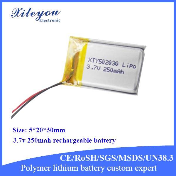 3.7v 250mah rechargeable lithium battery 502030 lipo battery