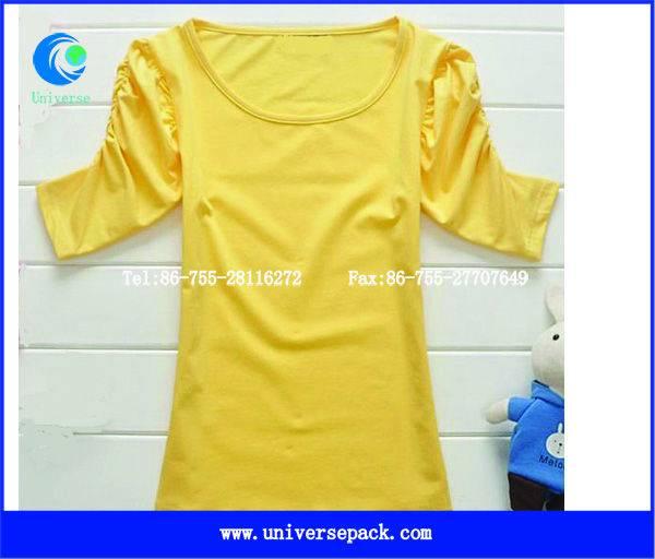 Slim  cotton spandex  three quarter sleeve  ladies t-shirt