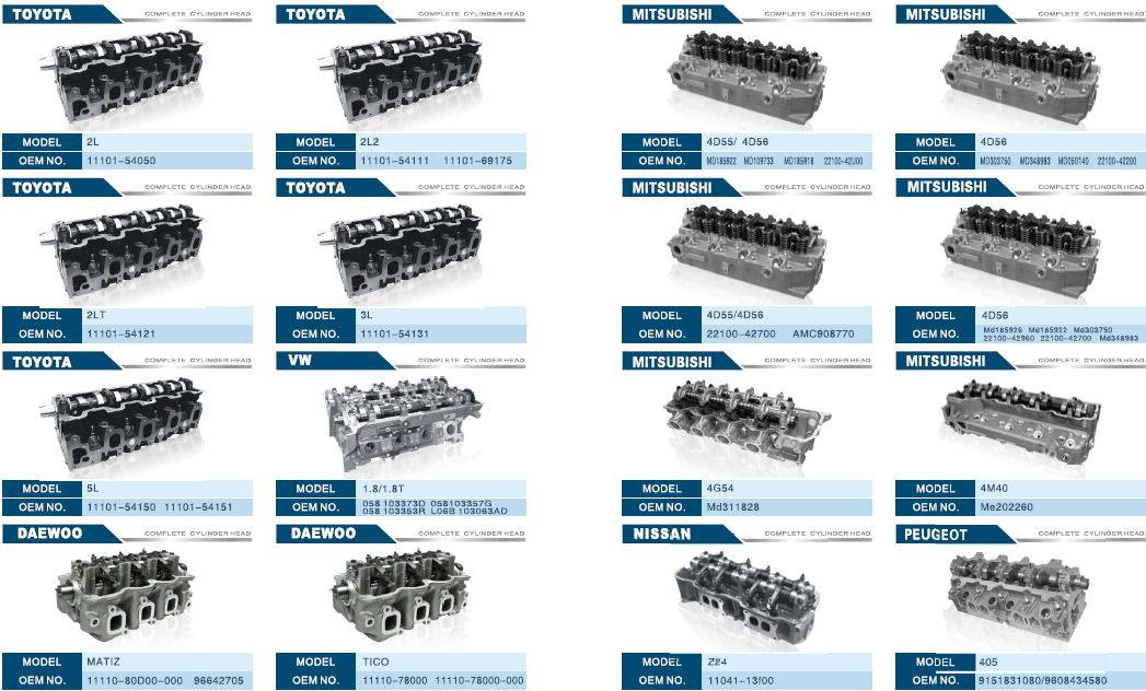 More than 700 kinds of Cylinder Head for Car, Pickup, Truck and Construction Machinery