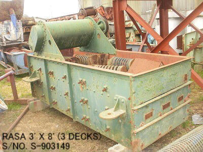 "USED ""RASA"" HORIZONTAL TYPE 3' X 8' VIBRATING SCREEN S/NO. S-903149 (3 DECKS) WITH MOTOR"