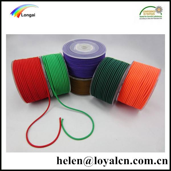 High Resilience Colored Round elastic braided rubber Cord 3mm